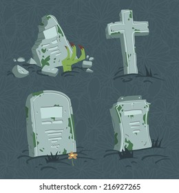 Cartoon flat Halloween tombs set. Vector tombs icons Vector pattern for web page backgrounds, postcards, greeting cards, invitations, pattern fills, surface textures.