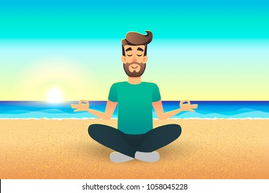 Cartoon flat happy man sitting on beach and meditating. Illustration of handsome male relaxed calm in lotus pose. Man Yoga - relaxation in the coast. Relax vacation summer holidays concept.