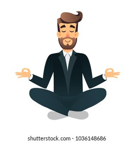 Cartoon flat happy office manager sitting and meditating. Illustration handsome businessman relaxed calm in lotus pose. Man Yoga - relaxation in the workplace. Relax after a hard work. Mental health