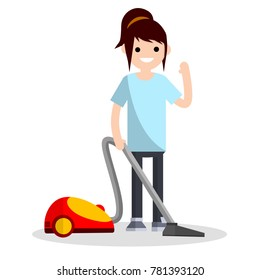Cartoon flat illustration - cleaning from dust. Home vacuum cleaner. Home appliances. The young girl engaged in domestic cleaning.