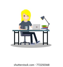 cartoon flat illustration - girl  in grey cloth sits on a chair at the table with books and laptop and coffee.