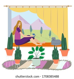Cartoon flat illustration girl sitting on window. Happy woman, cat sit on window, view mountain sunny landscape. Nature, trees, moon. Room plants, books, paintings, carpet. Concept cozy home comfort