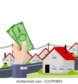 Cartoon flat illustration - the hand with the greenbacks. the city's suburbs. buy house. business deal. Rent a house. beautiful cityscape.