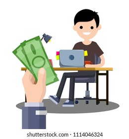 Cartoon flat illustration - the hand with the greenbacks. A young guy sitting at the table with a computer.work in Internet. earning money. good salary. Male freelance programmer
