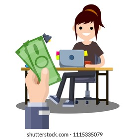 Cartoon flat illustration - the hand with the greenbacks. A young girl sitting at the table with a computer.work in Internet. earning money. good salary. female freelance programmer