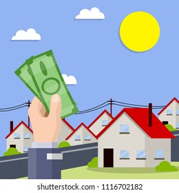 Cartoon flat illustration - the hand with the greenbacks. the city's suburbs. buy house. business deal. Rent a house. beautiful cityscape with blue sky,