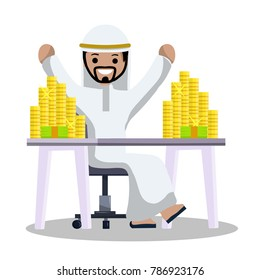 Cartoon flat illustration - happy Arab is sitting at the table. Businessman at work. Financial wealth. The heap of Golden money on the table. The middle East. Successful earnings.