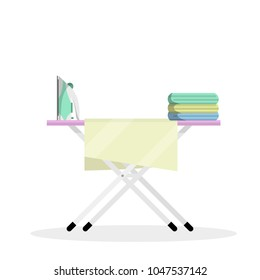 cartoon flat illustration - Ironing Board with iron and folded linen. home appliances and care. the device for comfort. the element of the room.