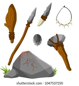 Cartoon flat illustration - man's primitive weapon. primal life of a wild man. a rock club. stick with stone and ropes. Spear, torch the fire, hammer, the axe. beads of teeth and claws. cave painting