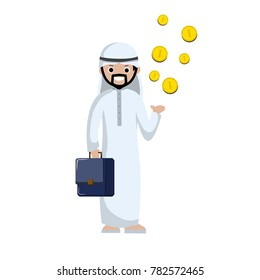 cartoon flat illustration - Muslim Arab man in white clothes standing with the business case. Money gold coins fall into the hands. Successful revenue and profit in the middle East.