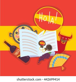 """Cartoon flat illustration of open book with Spanish culture symbols. """"Hola"""" means """"hello"""" on Spanish."""