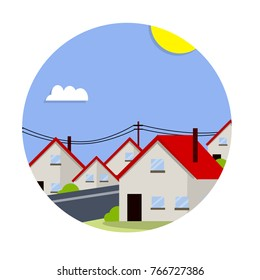 cartoon flat illustration - private houses of the suburbs. Low-rise buildings with red roofs in circle