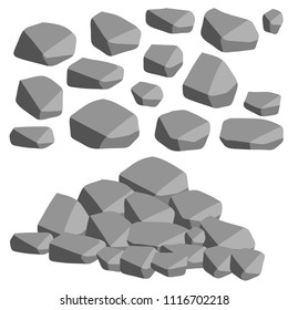 Cartoon flat illustration - set the gray stones of the rocks. building material. strong fence. natural mountain. lots of granite.