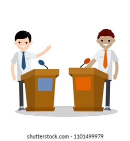 Cartoon flat illustration - two guys in the stands discussion. men's political debate. guys in shirt. state elections. Discussion of important cases. red vs blue idea