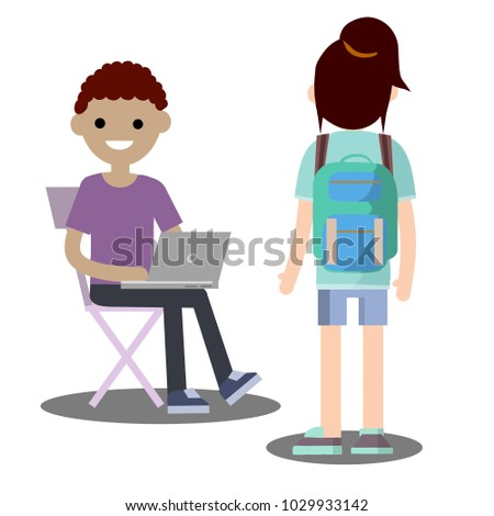 Cartoon Flat Illustration Two Young Friends Stock Vector Royalty