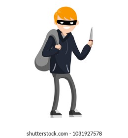Cartoon flat illustration - a young criminal with a bag of loot. masked bandit with a knife. robber in dark clothes. threat to life. danger and violation of the law.