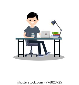 cartoon flat illustration - A young guy student sitting on a chair at the computer Desk and books