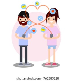 cartoon flat illustration - young lovers beard boyfriend in hat in blue cloth and girlfriend in pink cloth talking to each other on a cell phone with icons, letter, message, heart