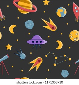 Cartoon flat kids space and cosmos science seamless pattern. Planet, rockets, stars and other space elements in simple cute vector background for children. Kids science and curiosity ideas on space
