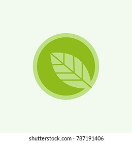 Cartoon flat leaf in green circle. Eco icon. isolated on white. Vector illustration. Organic icon. Eco friendly logo
