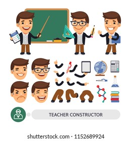Cartoon flat male character constructor of teacher in various poses and emotions for animation. Isolated flat style vector on white background. Clipping paths included.