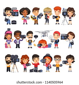 Cartoon flat male characters of cameramen in various poses with camcorders and equipment. Isolated on white background. Clipping paths included.