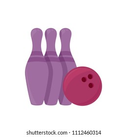 Cartoon flat objects of bowling, vector illustration isolated on white background