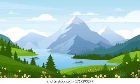 Cartoon flat panorama of spring summer beautiful nature, green grasslands meadow with flowers, forest, scenic blue lake, mountains on horizon background, mountain lake landscape vector illustration