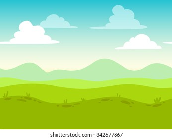 Cartoon flat seamless landscape, separated layers for parallax effect in game design
