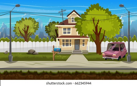 Cartoon flat seamless landscape, separated layers for parallax effect in game design. Vector