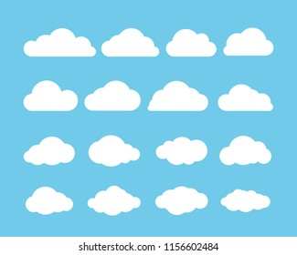 Cartoon flat set of white clouds isolated on blue background. White Cloud. Vector illustration