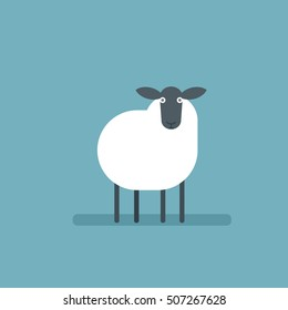 Cartoon flat sheep. Vector image