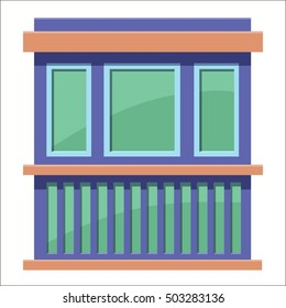 Cartoon flat stall or kiosk isolated on white background. Front. Tobacconist, pawnshop, bookshop. Small business. Outdoor. Vector illustration. EPS 10.