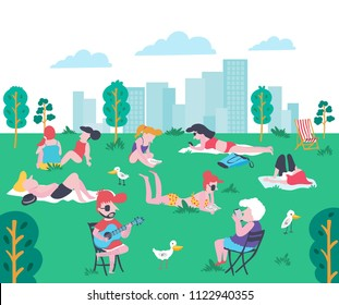 Cartoon flat style people at the park in summer, sunbathing, chitchatting, reading book, playing phone, and playing guitar on the green yard with high buildings in city , illustration, vector