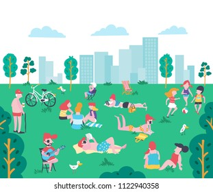 Cartoon flat style people at the park in summer, sunbathing, chitchatting, reading book, playing phone, playing guitar and ball playing kids on the green yard in city , illustration, vector