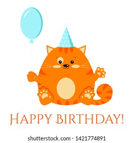 Cartoon flat style vector character happy birtday clip art illustration. Sweet and cute fat red smiling little ginger striped cat with a blue festive cap and balloon icon isolated on white background.