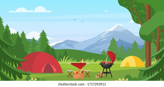Cartoon flat tourist camp with picnic spot and tent among forest, mountain landscape view, sunny day. Summer camping vector illustration. Outdoor nature adventure, active tourism background.