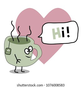 Cartoon flat vector cup of tea with lettering HI and heart background, comic line art avatar, logo design, love tea