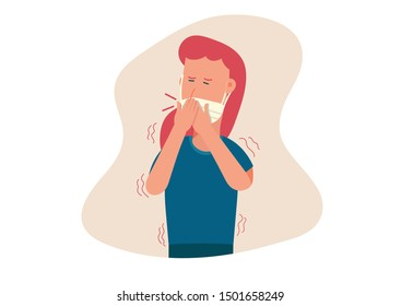 cartoon flat vector illustration of young woman with mask suffering form fever, cold sickness, cough and shake, flu symptom, illness, health problem, allergy, virus infection.