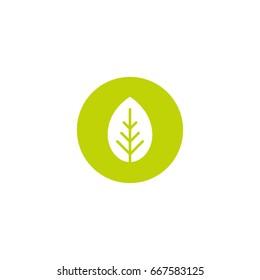 Cartoon flat white leaf in green circle. Eco icon. isolated on white. Vector illustration. Organic icon. Eco friendly logo