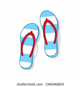 Cartoon flip flops vector image. Striped beach slippers.