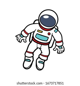 Cartoon Floating Astronaut Vector Illustration