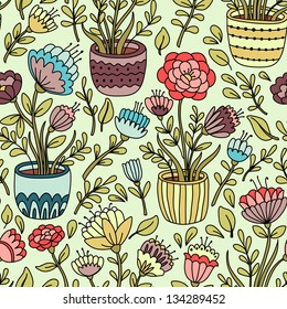 Cartoon floral seamless pattern with flower pot