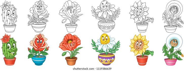 Cartoon Flowers Collection. House plants in pots. Coloring pages and colorful designs for coloring book, t-shirt print, icon, logo, label, patch, sticker. Vector illustrations.