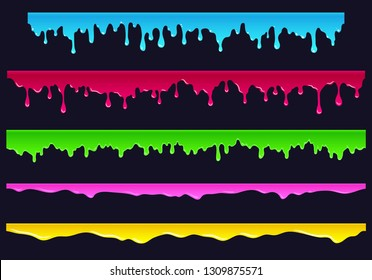 Cartoon flowing down paint, slime, sludge. Hand drawn elements for the endless bars, borders, etc., isolated vector illustration