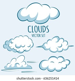 Cartoon fluffy clouds in the sky. Vector icons set isolated on blue background.