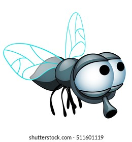 Cartoon fly with big eyes isolated on a white background. Vector illustration.