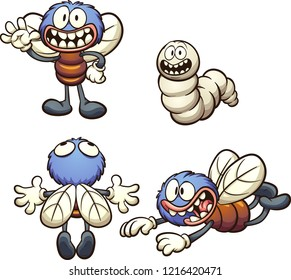 Cartoon fly in different poses.  Vector clip art illustration with simple gradients. Each on a separate layer.