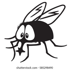 cartoon fly insect black and white