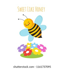 Cartoon flying bees. Cute bee and flower. Honeybee vector background. Insect cartoon, bumblebee and colored flowers illustration